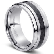 "Tungsten Ring ""Carbon Fiber Inlay High Polished """