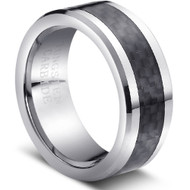 "Tungsten Ring With ""Black Carbon Fiber Inlay"""