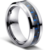 "Tungsten Ring With""Blue Carbon Fiber Inlay"""