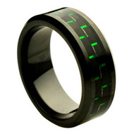 Black Ceramic Ring Green Carbon Fiber Inlay