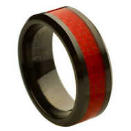Black Ceramic Ring Red Carbon Fiber Inlay