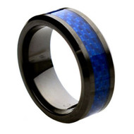 Black Ceramic Ring Blue Carbon Fiber Inlay
