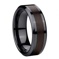 Black Ceramic Ring Wood Carbon Fiber Inlay