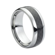 "Tungsten Ring With ""Black Carbon"" Fiber Inlay"