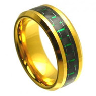 Tungsten Gold Plated Ring With Green Carbon Fiber Inlay
