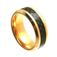 Tungsten Plated Gold Ring With Black Carbon Fiber Inlay