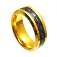 Tungsten Plated Gold Ring With Black & Blue Carbon Fiber Inlay