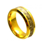 Tungsten Rose Gold Ring With Gold Carbon Fiber Inlay