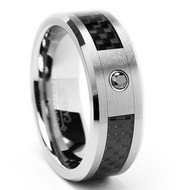 "Diamond Tungsten Ring With ""Carbon Fiber """