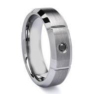 Diamond Tungsten Ring With Groove Cut