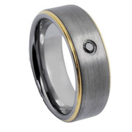 Diamond Tungsten Two Tone Ring