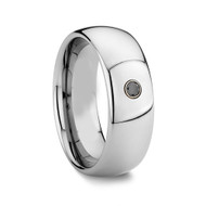 Diamond Tungsten Ring Men's Wedding Band