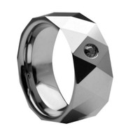 Diamond Tungsten Ring Men's Stylish Tungsten