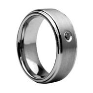 Diamond Tungsten Ring Brushed Stripe Men's Ring