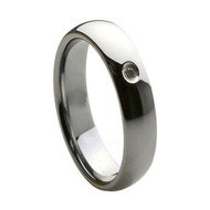 Diamond Tungsten Ring Wedding band with single Diamond