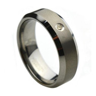Diamond Tungsten Ring wedding band with single Diamond classy