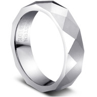 Faceted Tungsten Ring wide comfort fit
