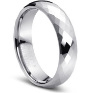Faceted Tungsten Ring Brilliance of high polished