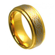 Laser Engraved Gold Tungsten Ring