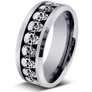 Laser Engraved Skull Calavera Tungsten Ring