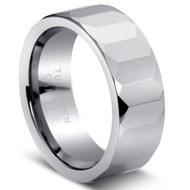 Faceted Tungsten Comfort Fit Tungsten Ring