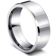 Faceted Polish Tungsten Ring