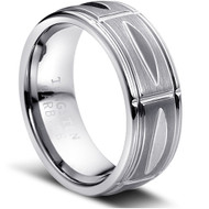 Grooved Tungsten Rings High Polish