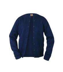 Cardigan Sweater Crew Neck Fine Gauge