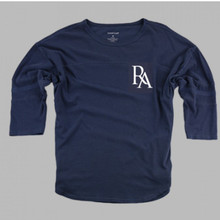 vintage faded navy T-shirt with 3/4 length sleeves