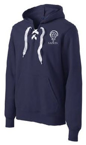 Hooded Sweatshirt, White Laces with Logo, Spirit Wear (1042)