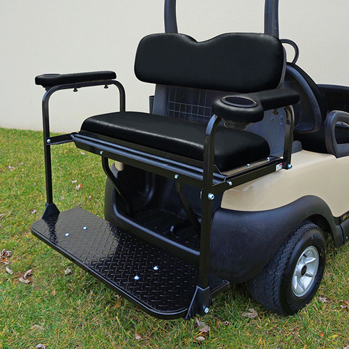 Club Car Precedent Super Saver Rear Flip Seat Kit for Golf Cart Black Cushion