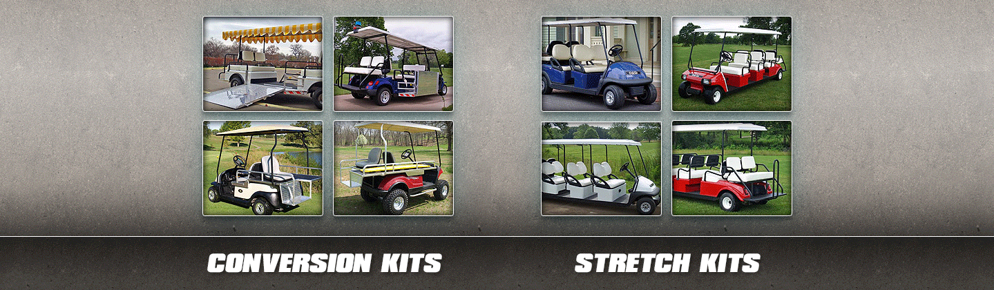 Golf carts in different colors