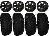 """Golf Cart Wheels & Tires Rims Black 12"""" Wheel All Terrain 23/10.5-12 Tire & lugs"""