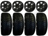 "Golf Cart Wheels & Tires Rims  Black 12"" Wheel Low Pro 215/40-12 Tire Free Lugs"