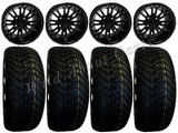 "Golf Cart Wheels & Tires Rims RX271  Black 12"" Wheel Low Pro 215/40-12 Tire"