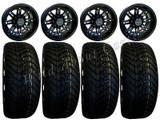 "Golf Cart Wheels & Tires Rims RX290 Matte Black 12"" Wheel 215/40-12 Tire & Lugs"