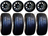 "Golf Cart Wheels & Tires Rims RX280 Matte Black 10"" Wheel 205/50-10 Tire & Lugs"