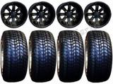 "Golf Cart Wheels & Tires Rims Matte Black 10"" Wheel 205/50-10 Tire Free lugs"