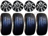 "Golf Cart Wheels & Tires Rims Machined & Black 10"" Wheel 205/50-10 Tire Free Lug"