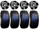 "Golf Cart Wheels & Tires Rims RX190 Machined & Black 10"" Wheel 205/50-10 Tire"