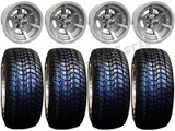 "Golf Cart Wheels & Tires Rims SS6 Machined 10"" Wheel 205/50-10 Tire Fee Lugs"