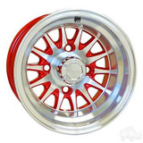 "Club Car DS Golf Cart Wheels,Tires & Lift Package Rims Red & Machined Phoenix 10"" Wheel"