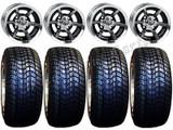 "Golf Cart Wheels & Tires Rims SS6 Machined & Black 10"" Wheel 205/50-10 Tire"