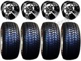 "Golf Cart Wheels & Tires Rims SS112 Machined & Black 10"" Wheel 205/50-10 Tire"