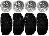 """Golf Cart Wheels & Tires Rims SS6 Machined 10"""" Wheel AT 22/11-10 Tire Free Lugs"""
