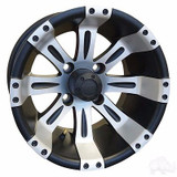 Club Car DS Golf Cart Wheels, Tires & Lift Package Rims Machined & Matte Black 10""