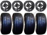 "Golf Cart Wheels & Tires Rims Indy Black 10"" Wheel Low Pro DOT 205/50-10 Tire"