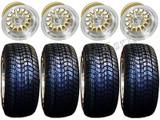 "Golf Cart Wheels & Tires Rims Machined & Gold 10"" Wheel Low Pro DOT 205/50-10"