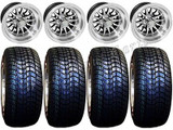 "Golf Cart Wheels & Tires Rims Machined & Black 10"" Wheel Low Pro DOT 205/50-10"