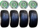 "Golf Cart Wheels & Tires Rims Machined & Green 10"" Wheel Low Pro DOT 205/50-10"